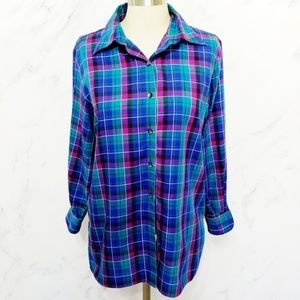 Foxcroft Tops - Foxcroft | Blue/Teal/Purple Plaid Button Up Top